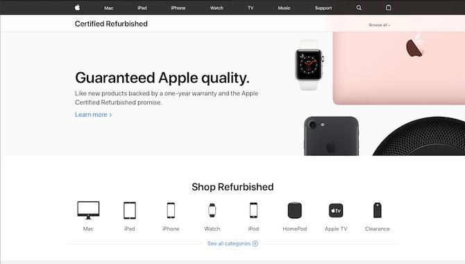 Apple zertifizierte überholte Website