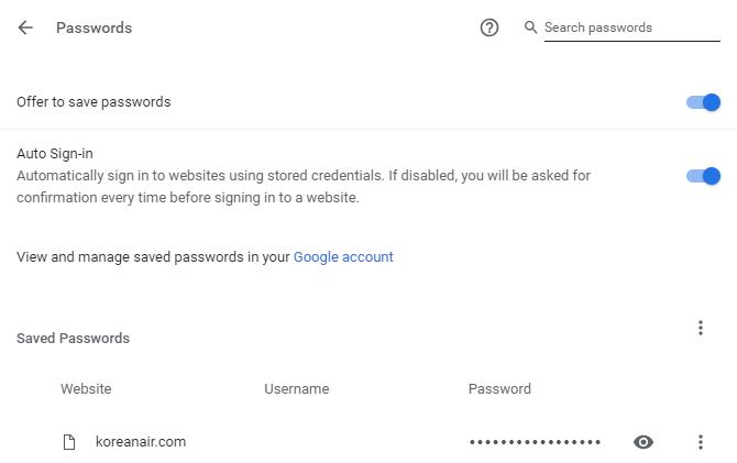 In Chrome gespeicherte Passwörter