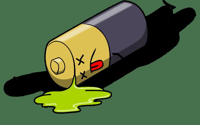 Caricature de batterie morte