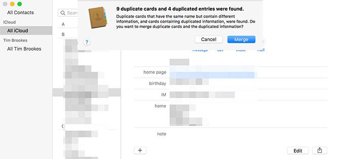 Fusionner les contacts en double macOS