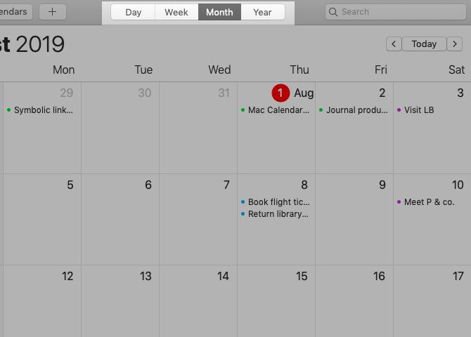 Affichage du mois dans Apple Calendar sur Mac