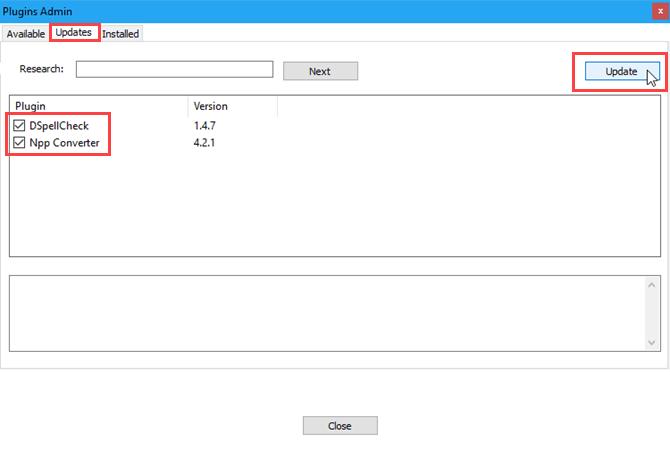 Onglet Mises à jour de la boîte de dialogue Admin des plug-ins dans Notepad ++