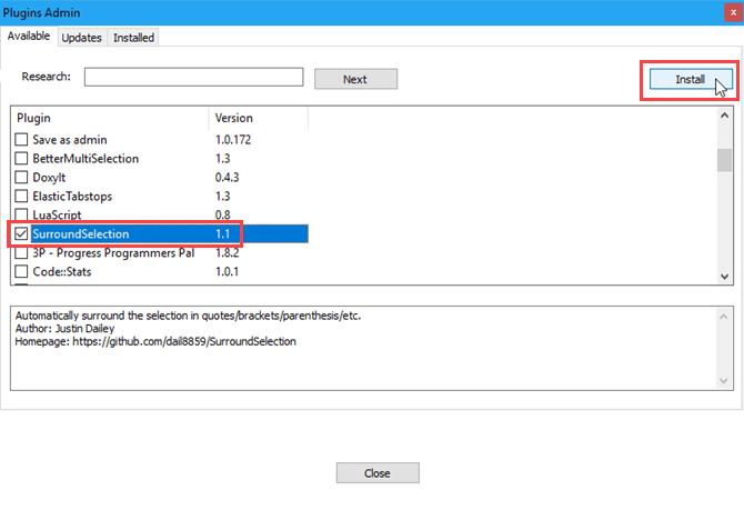 Installer un plugin inclus dans Notepad ++