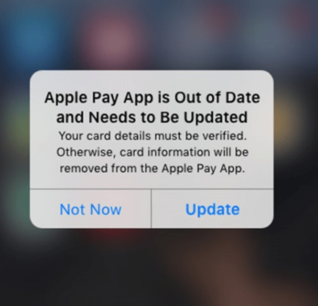 apple pay faux mise à jour pop-up malware