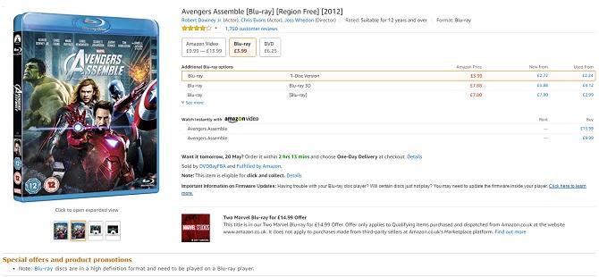 Blu-ray Avengers assemble Amazon