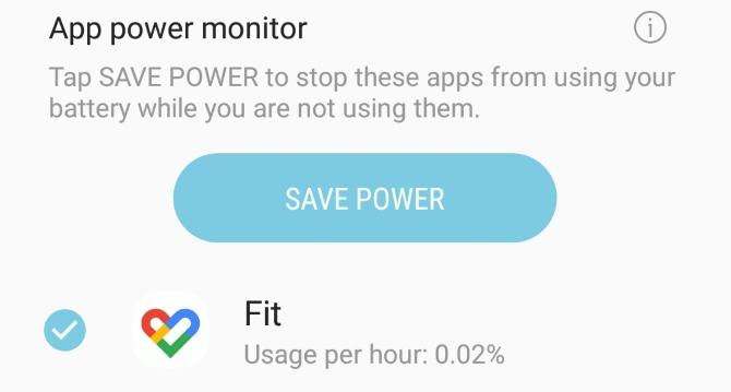 Écran du moniteur d'alimentation de l'application S8