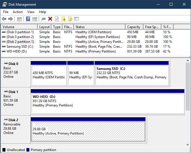 Disque amovible de gestion des disques Windows