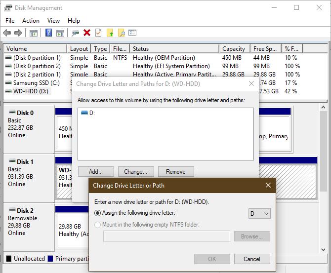 Gestion de disque Windows Attribuer une lettre de lecteur