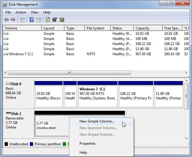 Gestion des disques Windows Nouveau volume simple