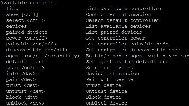 Raspberry Pi Bluetooth-Hilfebefehle