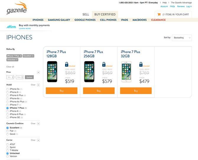 bester Ort, um ein gebrauchtes iPhone zu kaufen - Gazelle iPhone Storefront