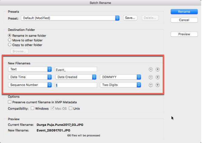 Adobe Bridge-Batch-Prozessoptionen