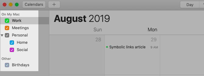 Liste du calendrier dans la barre latérale d'Apple Calendar sur Mac