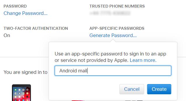 Créez un mot de passe dans iCloud