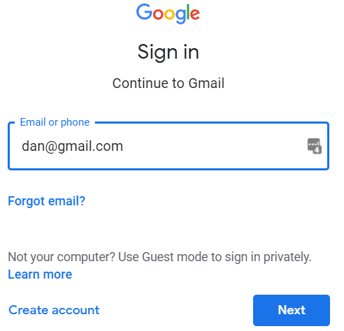 Google Mail-Anmeldebildschirm