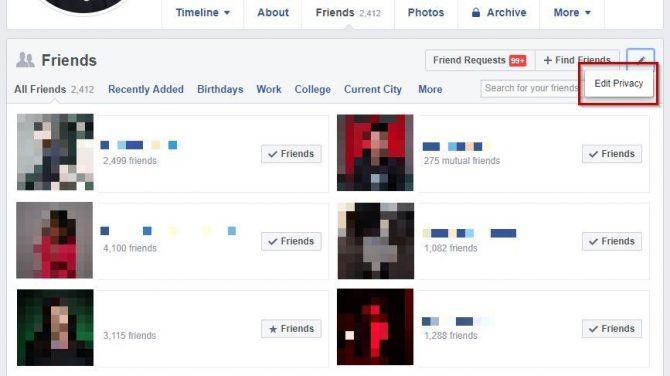 Facebook-Freundesliste ausblenden
