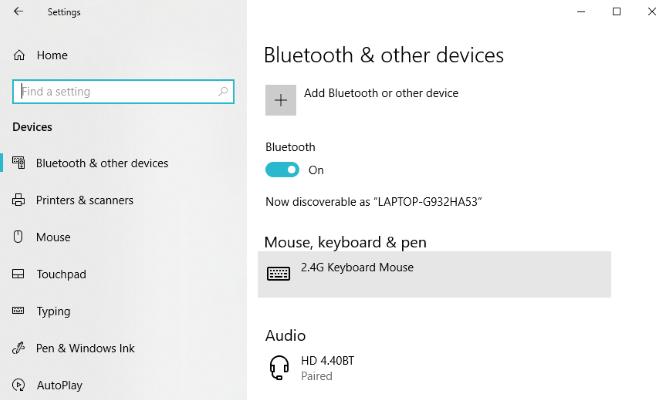 Windows 10 Bluetooth-Einstellungen