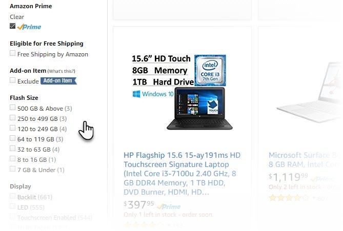 options de recherche avancée d'Amazon