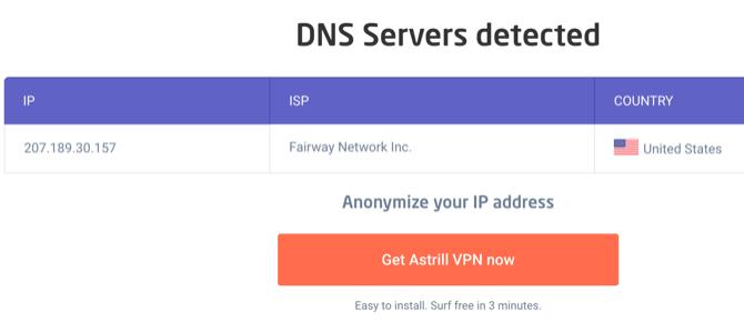 Astrill DNS-Testergebnisse bei Verbindung mit einem VPN