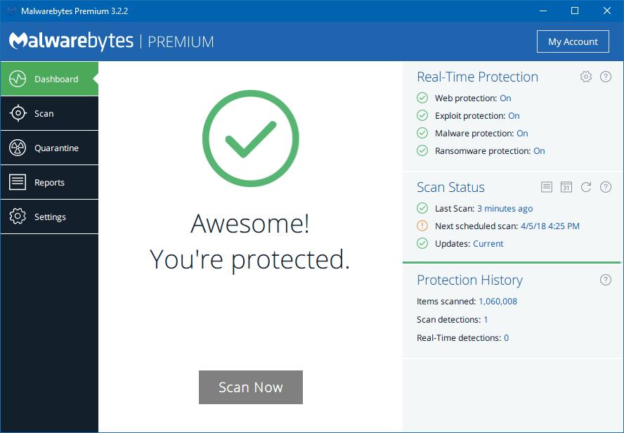 Premium-Malwarebytes, die sich lohnen - Bestätigung des Schutzes