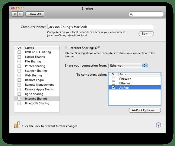 Teilen Sie eine Internetverbindung zwischen Mac und PC