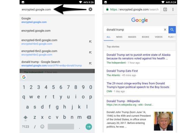 recherche google cryptée