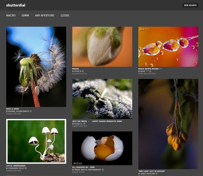 So finden Sie Fotos zum Studieren nach Objektiv, Blende, Verschlusszeit und Verschlusstyp