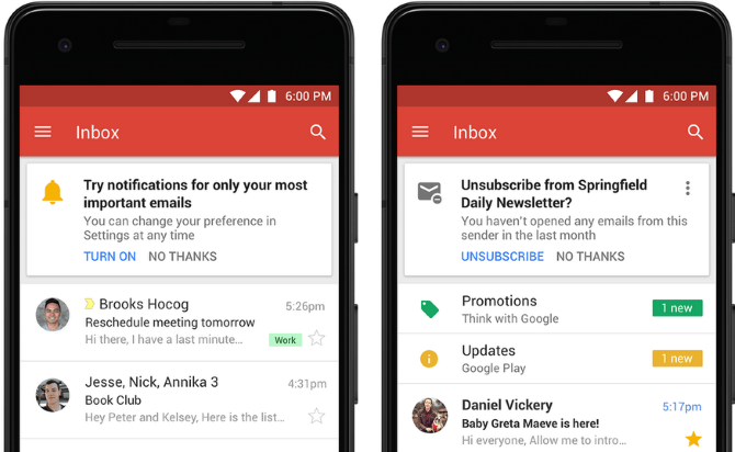 Notifications Gmail et désabonnement mobile