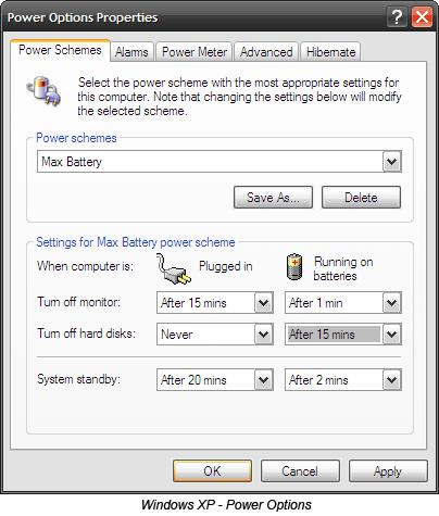 20 façons d'augmenter la durée de vie de la batterie de l'ordinateur portable Options d'alimentation de Windows XP