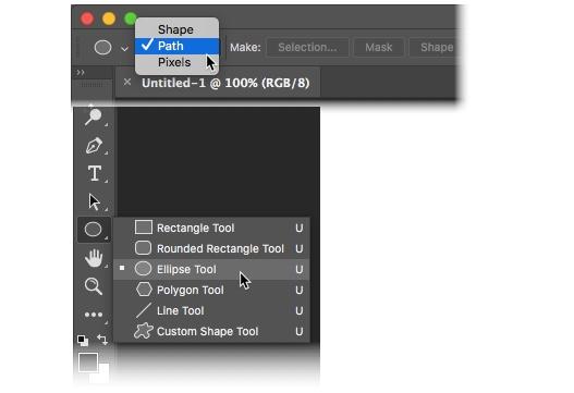 Photoshop CC 2018 - Wählen Sie Form und Pfad aus