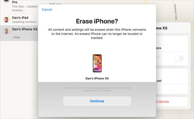 Supprimer la fenêtre de confirmation iPhone de Find My app sur Mac