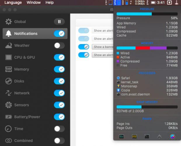 istat-menus-Applications de la barre de menus Mac