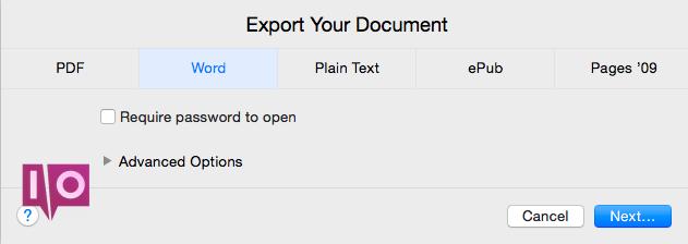 Anzeigen oder Bearbeiten eines Seitendokuments von einem Mac in Windows Pages Export Word