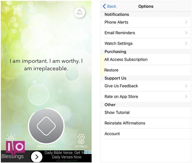 application iphone unique affirmations quotidiennes