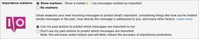 paramètres gmail marqueurs d'importance
