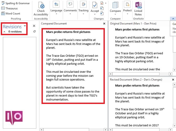 microsoft word compare docs final