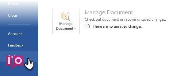Vue des coulisses de Microsoft Word