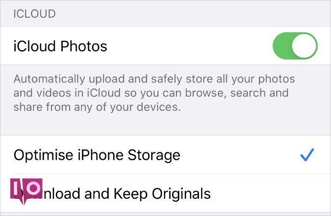 Paramètres iCloud Photos sur iPhone