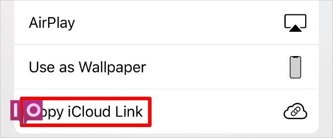Copier le bouton Lien iCloud dans la feuille de partage iPhone