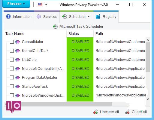 tweaker de confidentialité windows
