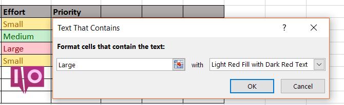 Formatage conditionnel Excel - Effort de travail