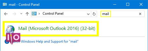 Recherche de l'application Mail dans Windows 10