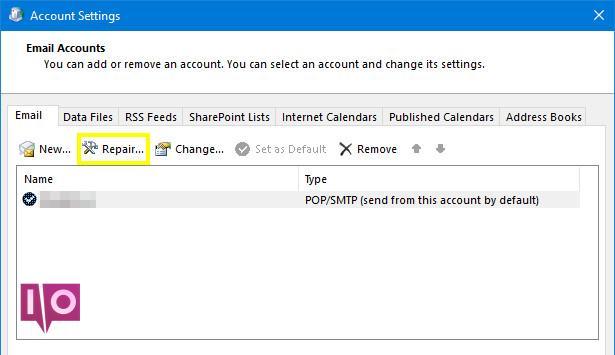 Réparer le courrier électronique dans les paramètres du compte Outlook