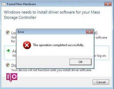 Erreur Windows réussie