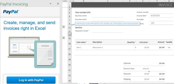 Facturation PayPal pour le module complémentaire Excel