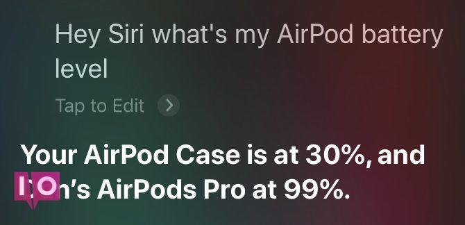Siri lit le pourcentage de batterie des AirPods