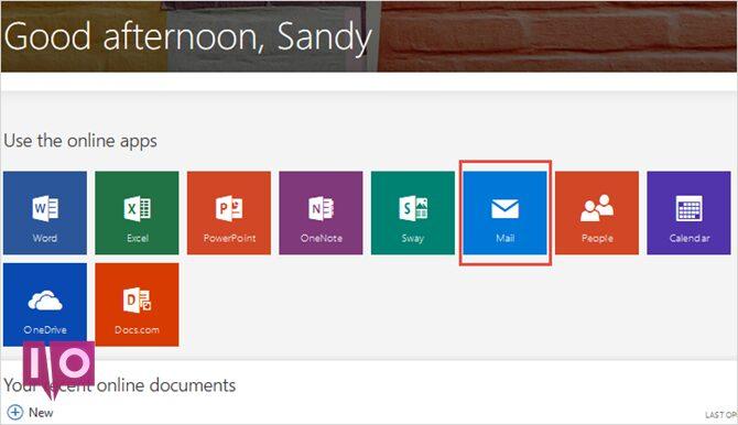Écran principal Outlook.com