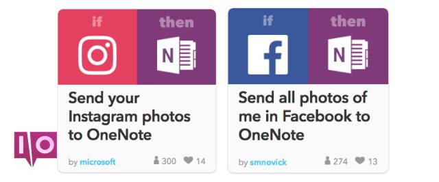 Intégrations sociales OneNote avec exemple de fonctionnalité IFTTT