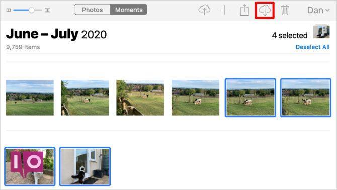 Bouton de téléchargement sur le site Web iCloud Photos sur Mac