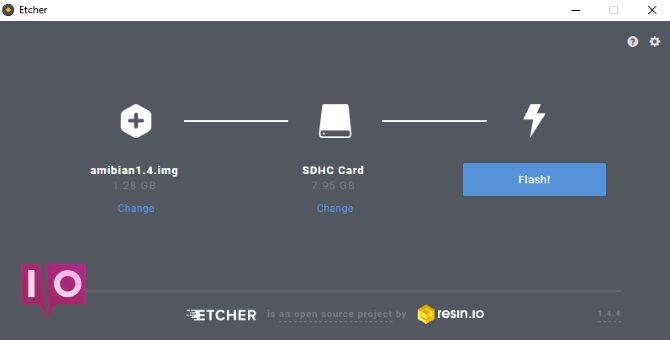 Gravez le système d'exploitation Amibian sur la carte SD avec Etcher